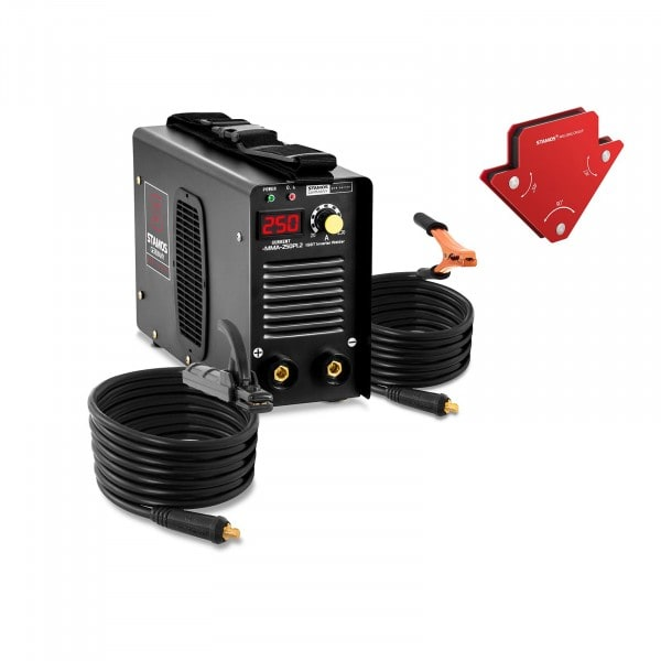 Set: Electrode Welding Machine with 2 Magnetic Welding Holders - 250 A - 8 m cable - hot start