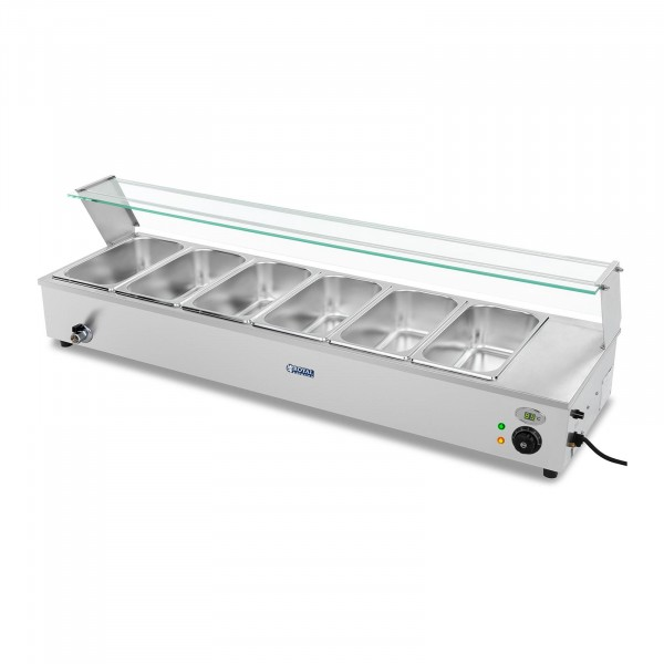 Bain-Marie - incl. 6 GN 1/3 containers - drain tap