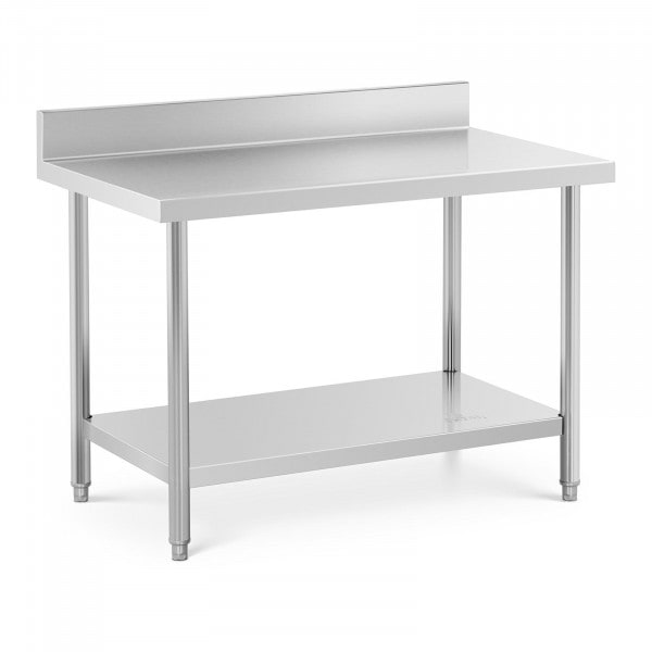 Stainless Steel Work Table - 120 x 70 cm - upstand - 115 kg capacity