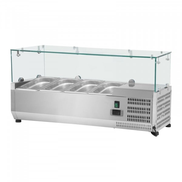 Countertop Refrigerated Display Case - 120 x 39 cm - 4 GN 1/3 Containers - Glass Cover