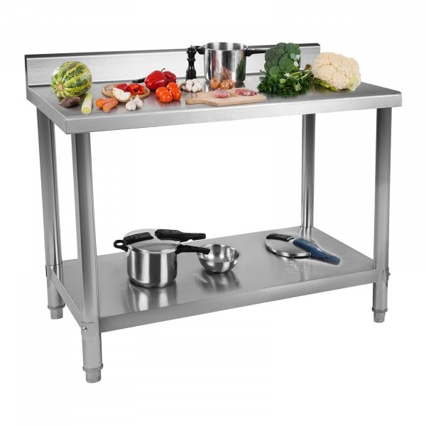 Stainless Steel Work Table - 120 x 60 cm - upstand - 137 kg capacity