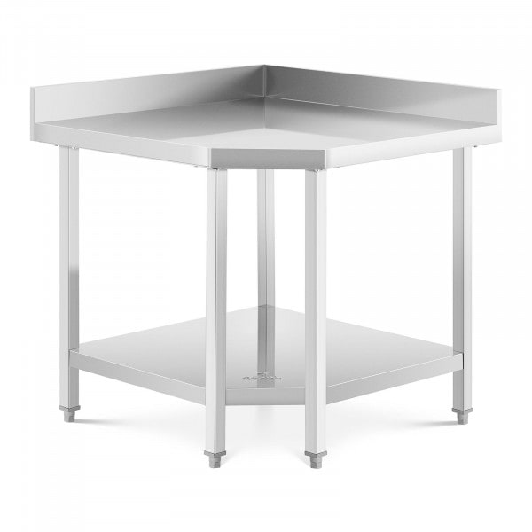 Stainless Steel Corner Table - 90 x 70 cm - upstand - 300 kg capacity