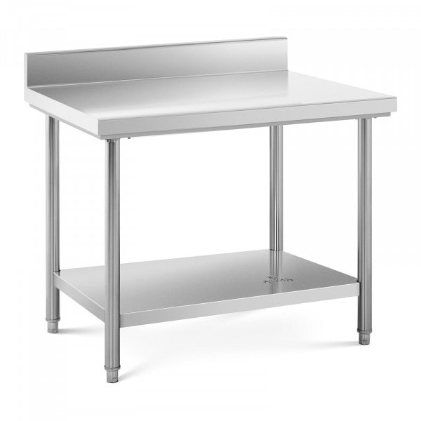 Stainless Steel Work Table - 100 x 70 cm - upstand - 95 kg capacity