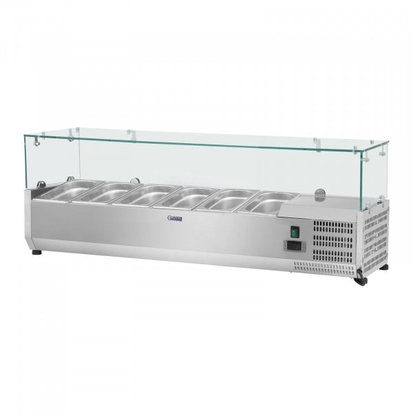 Countertop Refrigerated Display Case - 140 x 33 cm - 6 GN 1/4 Containers - Glass Cover