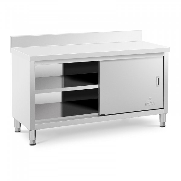 Stainless Steel Work Cabinet - 150 x 60 x 85 cm - upstand - 600 kg load capacity