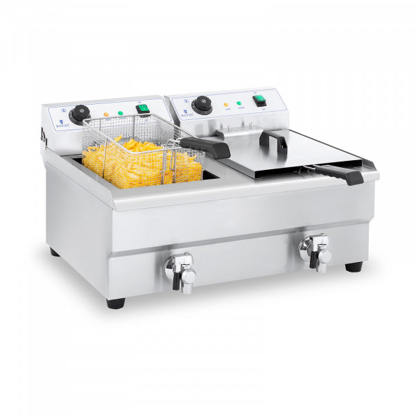 Electric Deep Fryer - 2 x 16 L with Drain Tap
