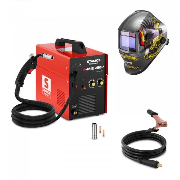 Welding Set MIG/MAG Welder - 250 A - 230 V - portable + Welding helmet - Eagle Eye - ADVANCED SERIES