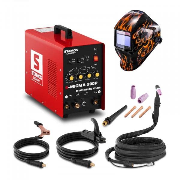 Welding Set TIG Welder - 200 A - 230 v - Pulse + Welding helmet – Firestarter 500 - ADVANCED SERIES