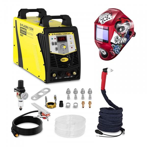 Welding Set Plasma Cutter - 125 A - 400 V - Pilot Ignition + Welding helmet –Pokerface - PROFESSIONAL SERIES