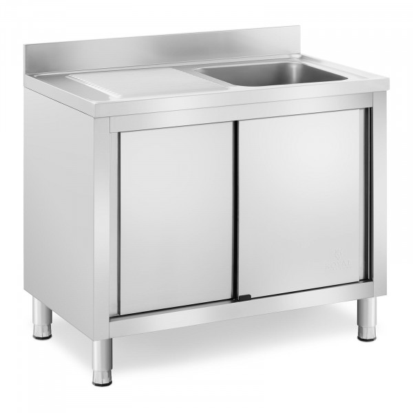 Commercial Kitchen Sink - 1 basin - Royal Catering - Stainless steel - 400 x 400 x 240 mm
