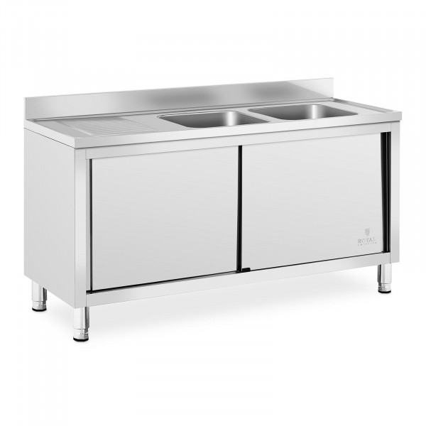 Commercial Kitchen Sink - 2 basins - Royal Catering - Stainless steel - 400 x 400 x 250 mm