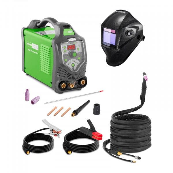 Welding Set TIG Welder - 200 A - 230 V - Pulse - digital - 2/4 Tact + Welding helmet – Carbonic - PROFESSIONAL SERIES