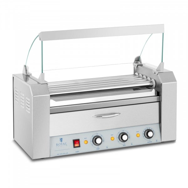 Hot Dog Grill - 5 rollers - warming drawer - stainless steel