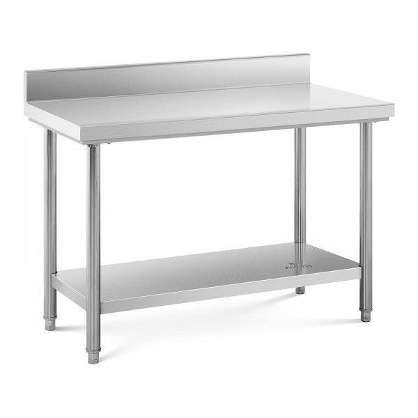 Stainless Steel Work Table - 120 x 60 cm - upstand - 110 kg capacity