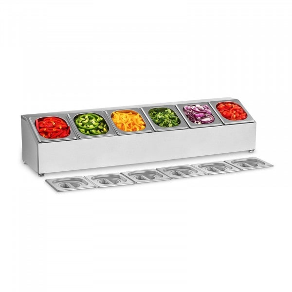 Gastronorm Pan Holder - Incl 6 1/6 Gastronorm Containers with Lids