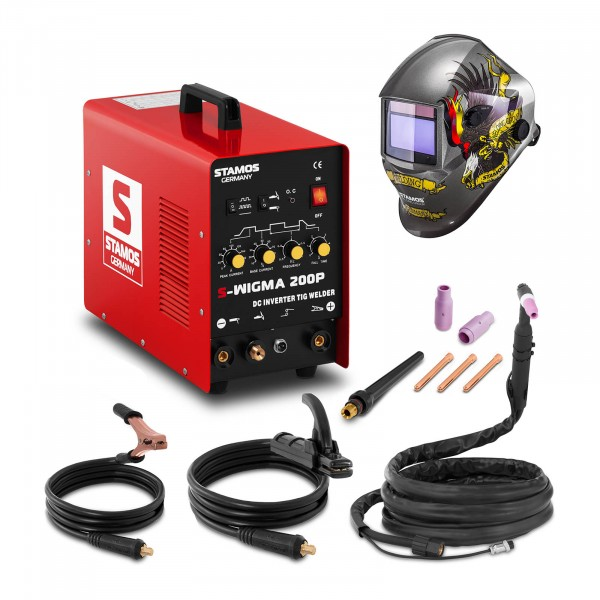 Welding Set TIG Welder - 200 A - 230 v - Pulse + Welding helmet – Eagle Eye - ADVANCED SERIES
