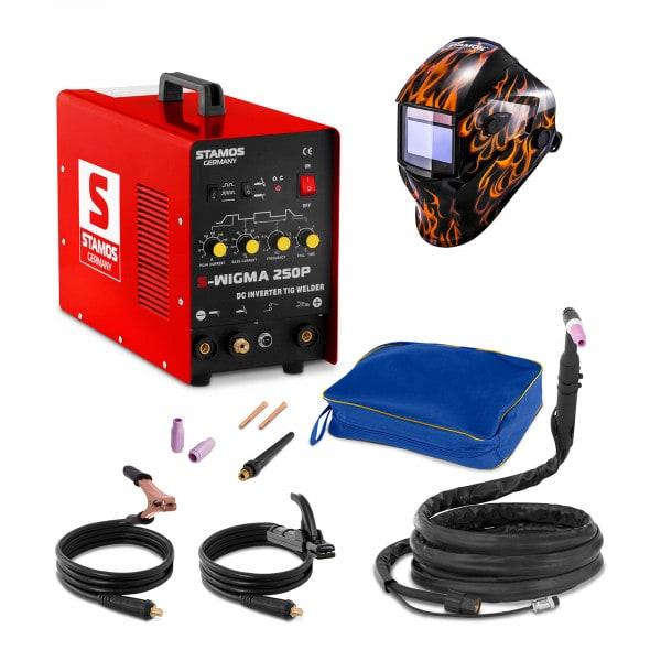 Welding Set TIG Welder - 250 A - 230 V - Pulse + Welding helmet – Firestarter 500 - ADVANCED SERIES