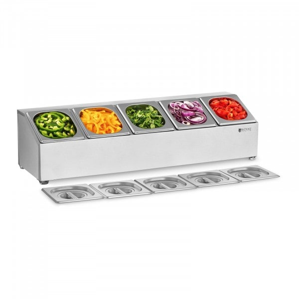 Gastronorm Pan Holder - Incl. 5 GN 1/6 Gastronorm Containers with Lids