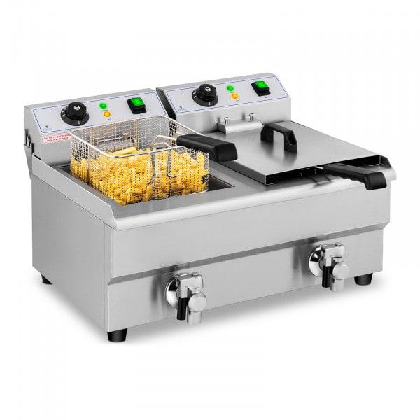 Electric Deep Fryer - 2 x 10 L - Drain taps - 230 V