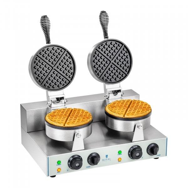 Double Waffle Maker - 2 x 1300 Watts - Round