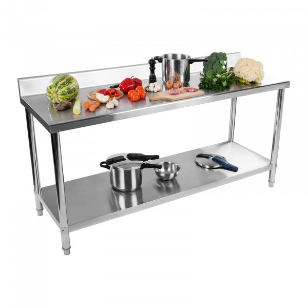 Stainless Steel Table - 180 x 60 cm - upstand - 170 kg weight capacity