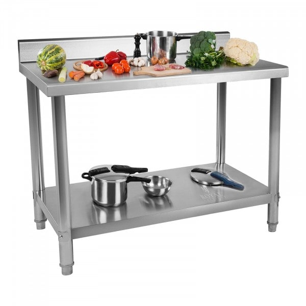 Stainless Steel Table - 120 x 70 cm - Upstand